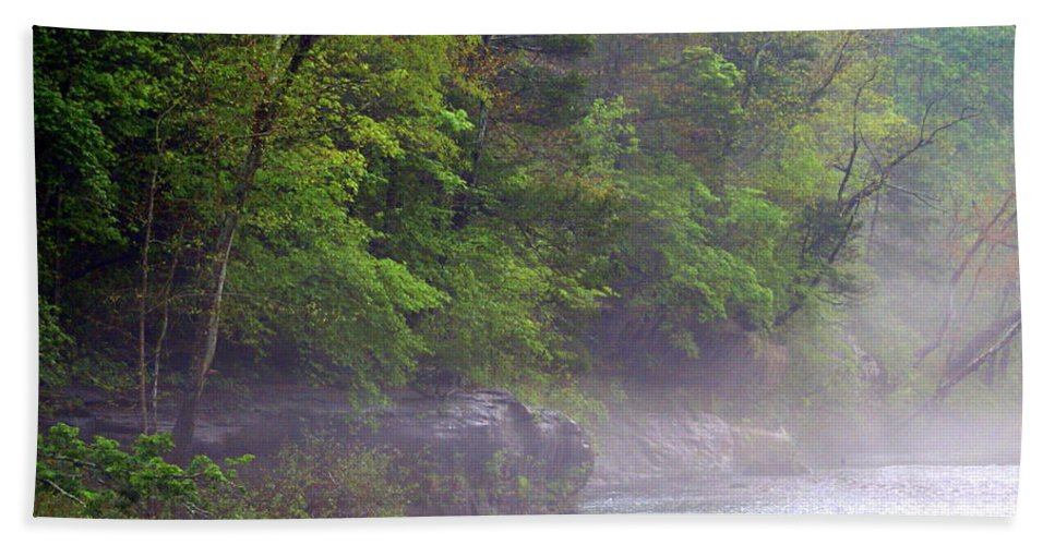 Buffalo National River Beach Towel featuring the photograph Misty Morning On The Buffalo by Marty Koch