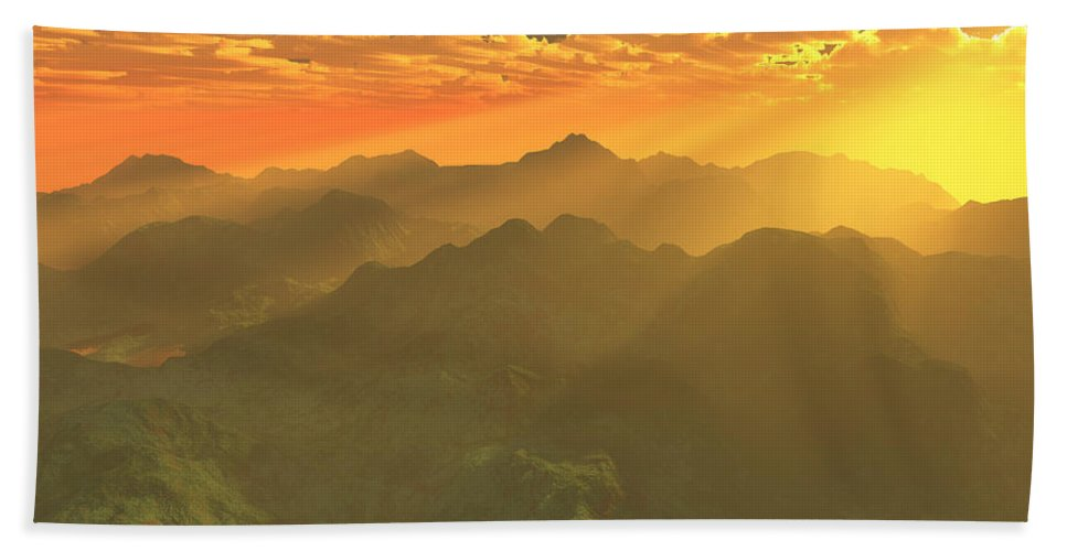 Computer Art Beach Towel featuring the digital art Misty Mornings In Neverland by Gaspar Avila