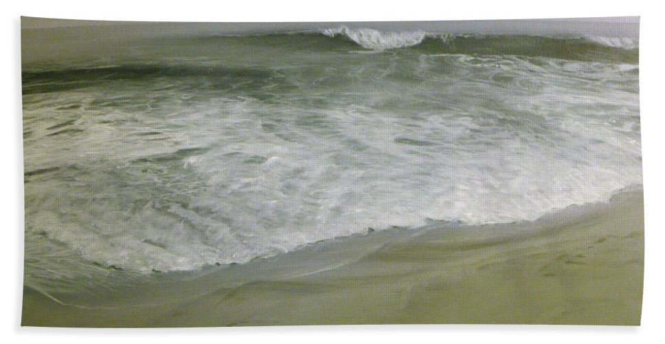Storm Beach Towel featuring the painting Misty Seas by Patty Moramarco