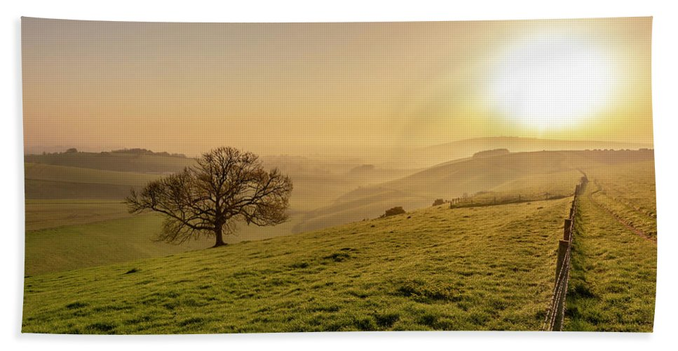 South Beach Towel featuring the photograph Misty South Downs Way by Hazy Apple