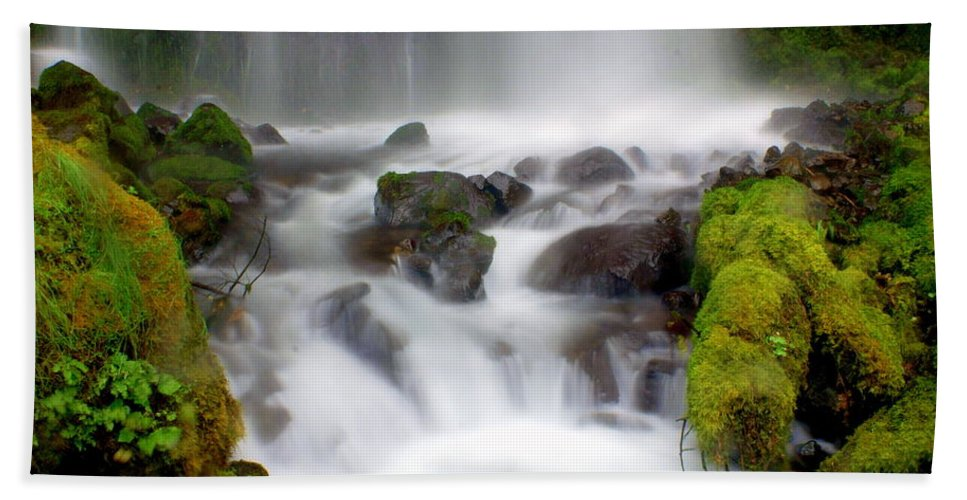Waterfall Beach Towel featuring the photograph Misty Waters by Marty Koch