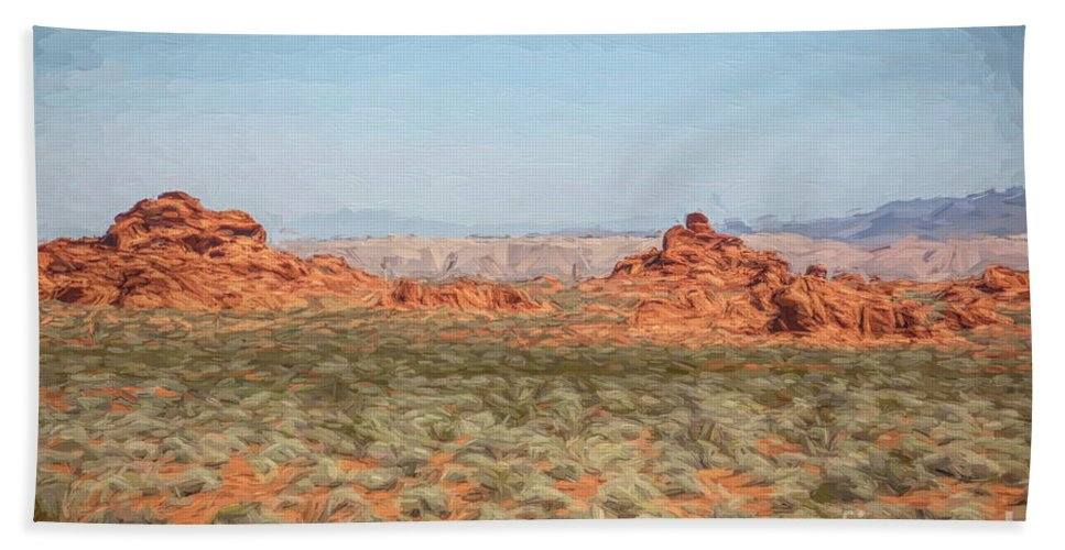 Valley Of Fire Beach Sheet featuring the digital art Mix Media Valley Of Fire by Chuck Kuhn