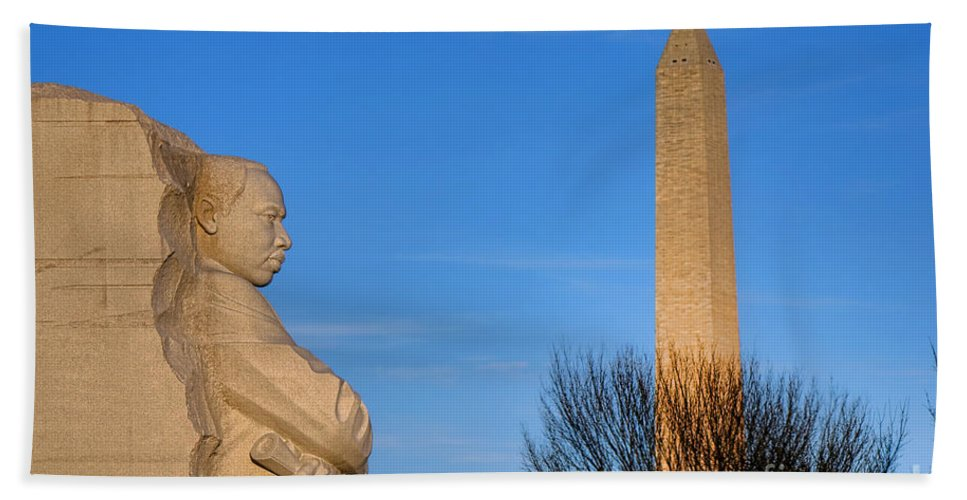 Washington Beach Towel featuring the photograph Mlk And Washington Monuments by Olivier Le Queinec