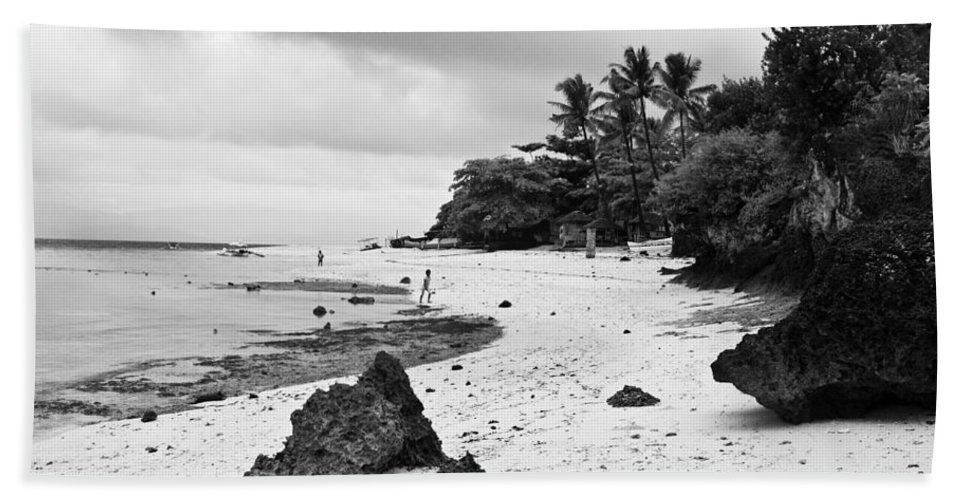 Beach Beach Towel featuring the photograph Moalboal Cebu White Sand Beach In Black And White by James BO Insogna