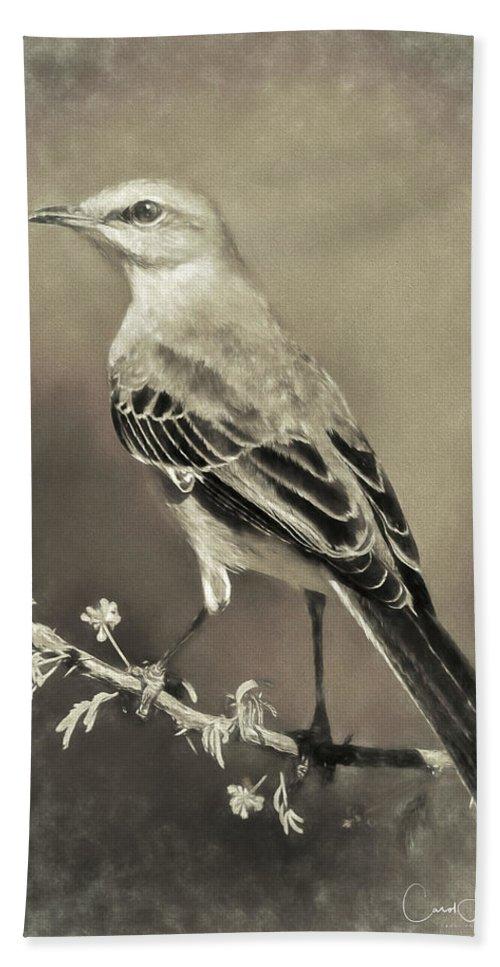 Northern Mockingbird Beach Towel featuring the digital art Mockingbird by Carol Fox Henrichs