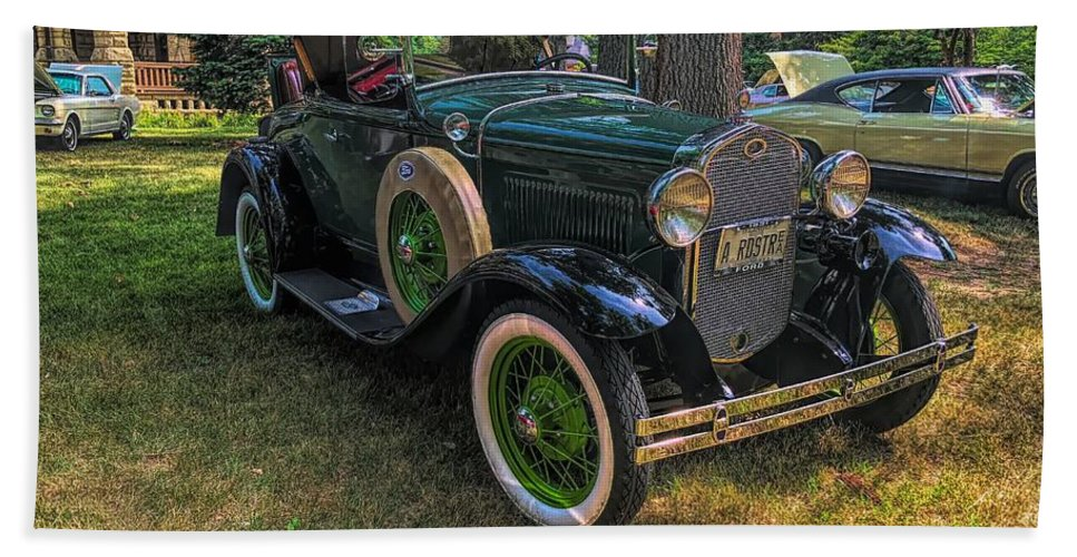 Model A Ford Beach Towel featuring the photograph 1928 Model A Ford by Luther Fine Art