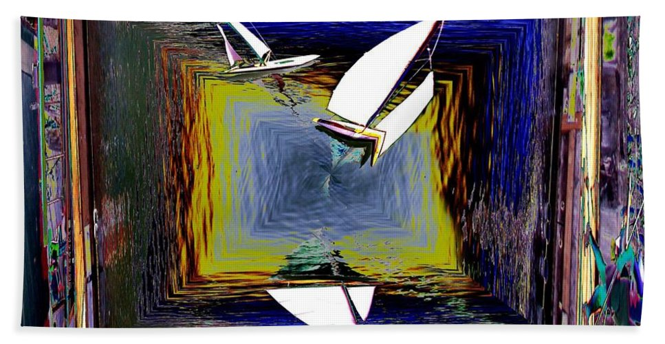 Sail Beach Towel featuring the digital art Model Sailboats by Tim Allen