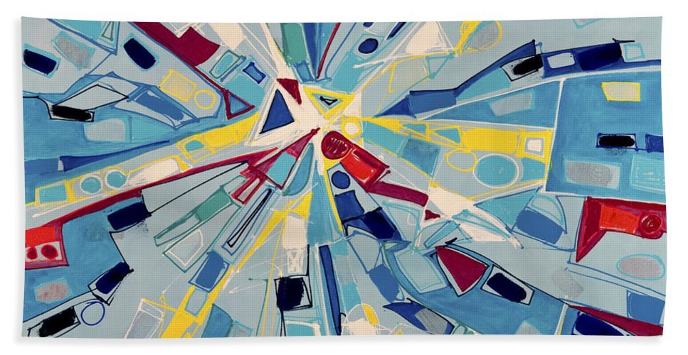 Abstract Beach Towel featuring the painting Modern Art One by Lynne Taetzsch