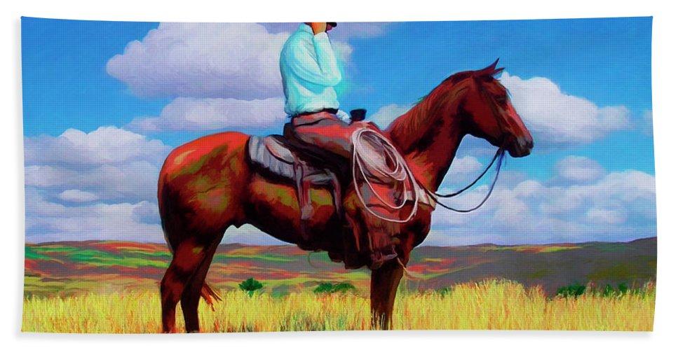 Cowboy Beach Towel featuring the digital art Modern Cowboy by Snake Jagger
