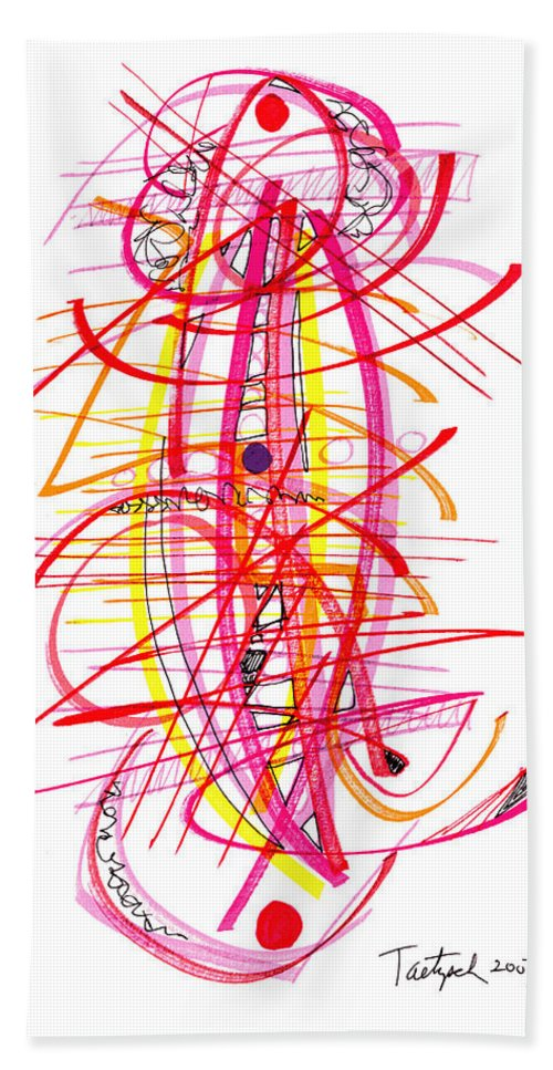 Modern Art Drawing Beach Towel featuring the drawing Modern Drawing Forty-five by Lynne Taetzsch