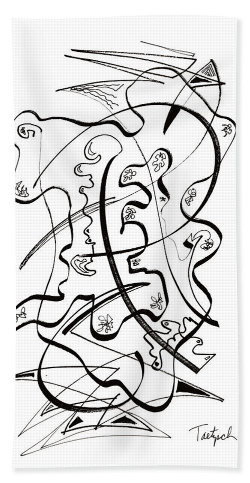 Modern Art Drawing Beach Towel featuring the drawing Modern Drawing Forty-seven by Lynne Taetzsch