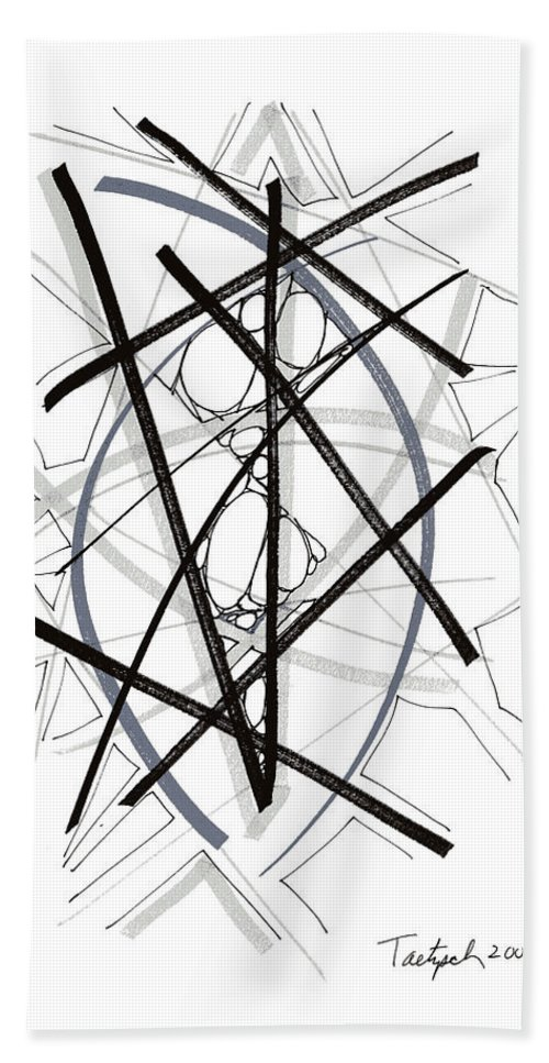 Modern Art Drawing Beach Towel featuring the drawing Modern Drawing Forty-six by Lynne Taetzsch