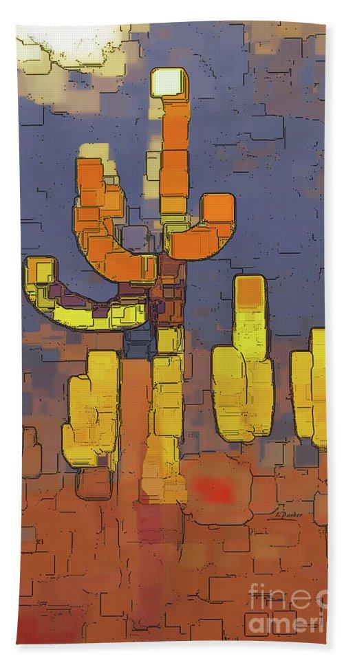 Desert Beach Sheet featuring the photograph Modern Saguaro - Red by Linda Parker