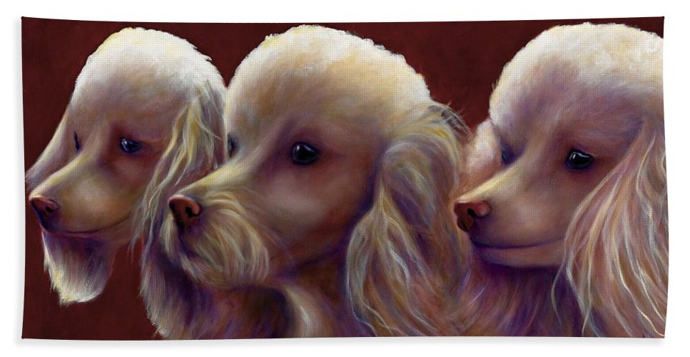 Dogs Beach Towel featuring the painting Molly Charlie And Abby by Shannon Grissom