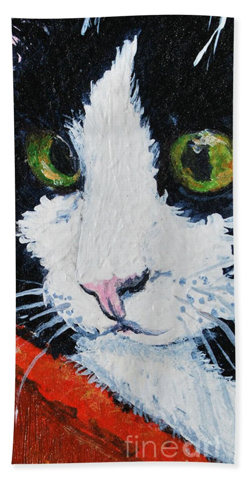 Cat Beach Towel featuring the painting Molly by Reina Resto