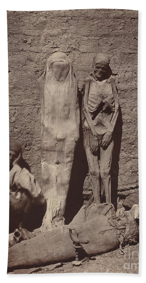 Beach Towel featuring the photograph Momies Egyptiennes (egyptian Mummies) by F?lix Bonfils