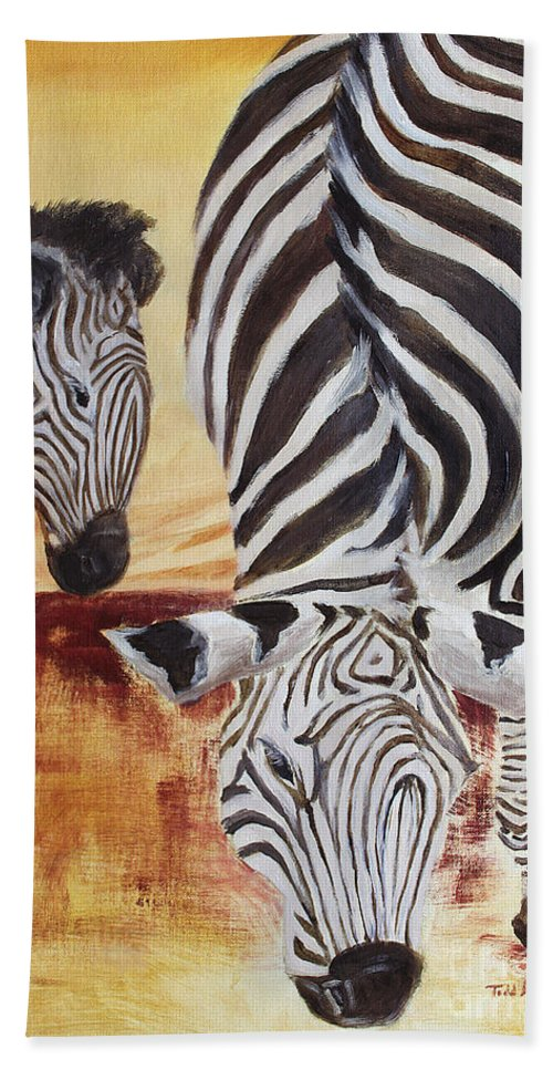 Animal Beach Towel featuring the painting Momma And Baby by Todd Blanchard