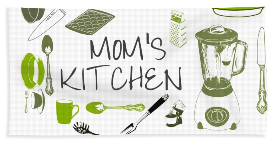 Mom Beach Towel featuring the digital art Moms Retro Kitchen Cookware by Anne Kitzman