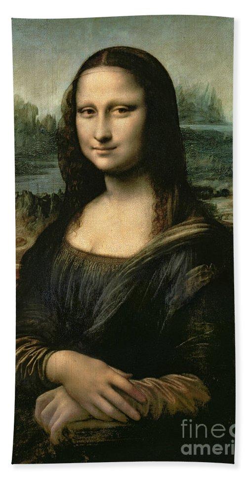 Mona Beach Towel featuring the painting Mona Lisa by Leonardo da Vinci
