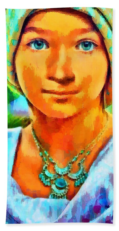 Mona Lisa Beach Towel featuring the digital art Mona Lisa Young - Da by Leonardo Digenio