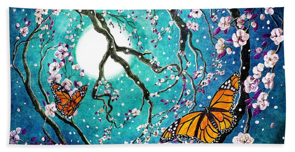 Fantasy Beach Towel featuring the digital art Monarch Butterflies In Teal Moonlight by Laura Iverson