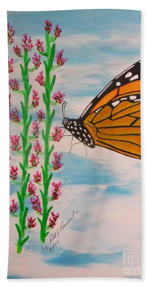 Monarch Butterfly Beach Towel featuring the painting Monarch Heaven by Robert Provencial