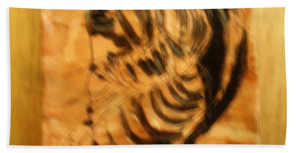 Jesus Beach Towel featuring the ceramic art Monday - Tile by Gloria Ssali