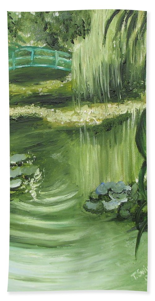 Monet Beach Towel featuring the painting Monet's Garden by Tina Swindell
