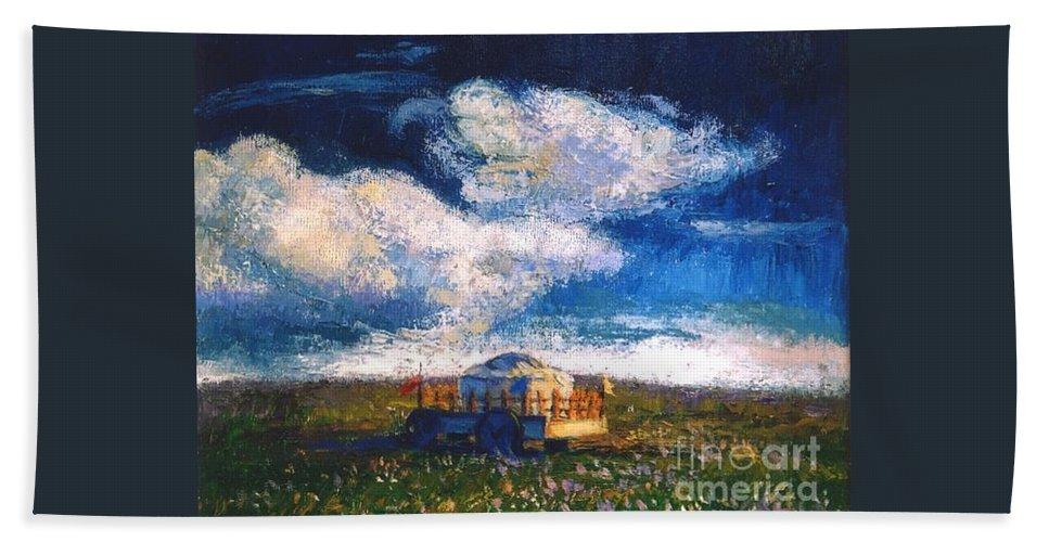 Momgolian Beach Towel featuring the painting Mongolian Home by Meihua Lu