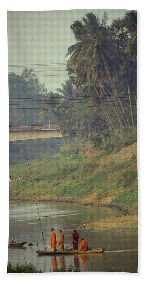 Monks Beach Sheet featuring the photograph Monks - Battambang by Patrick Klauss
