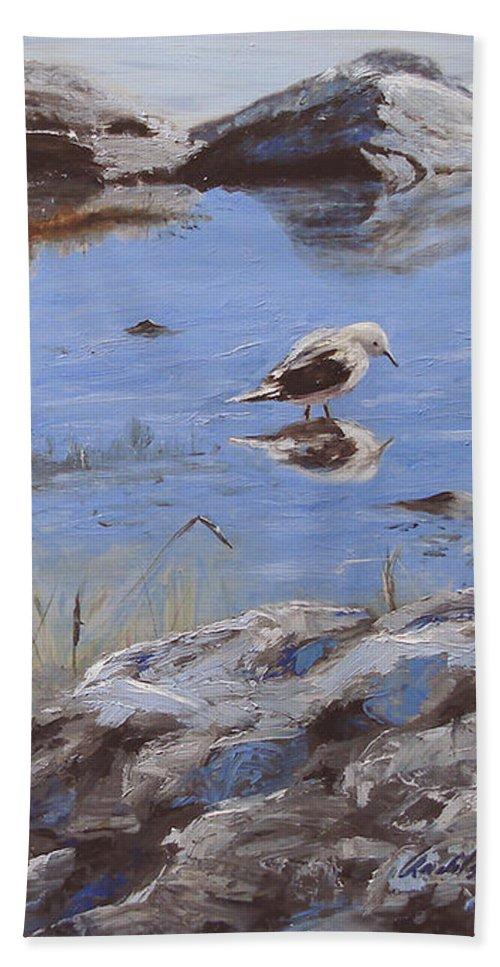Animal Beach Towel featuring the painting Mono Lake by Barbara Andolsek