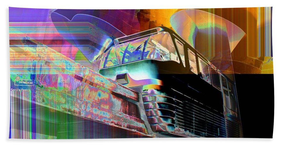 Seattle Beach Towel featuring the digital art Monorail And Emp by Tim Allen