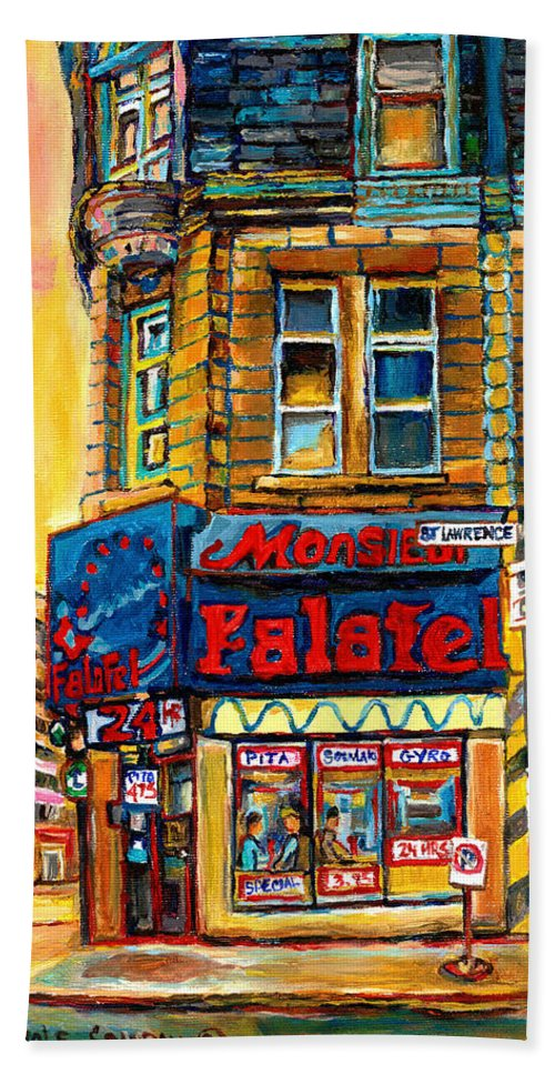 Montreal Beach Towel featuring the painting Monsieur Falafel by Carole Spandau