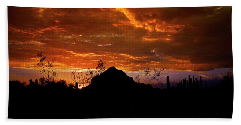 Arizona Beach Towel featuring the photograph Monsoon Sunset by Saija Lehtonen