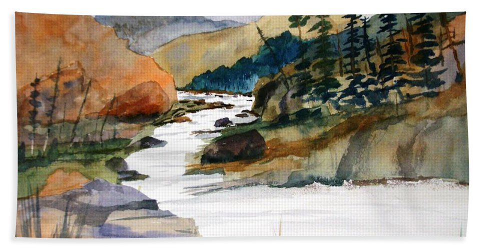 Watercolor Beach Towel featuring the painting Montana Canyon by Larry Hamilton