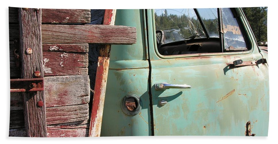Truck Beach Towel featuring the photograph Montana Truck by Diane Greco-Lesser
