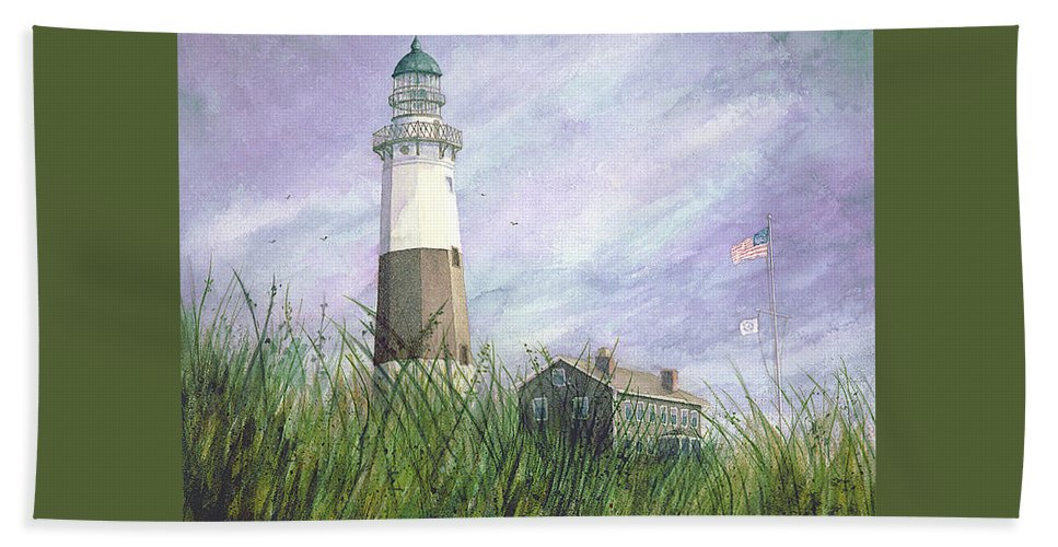 Beach Towel featuring the painting Montauk Lighthouse by Tony Scarmato