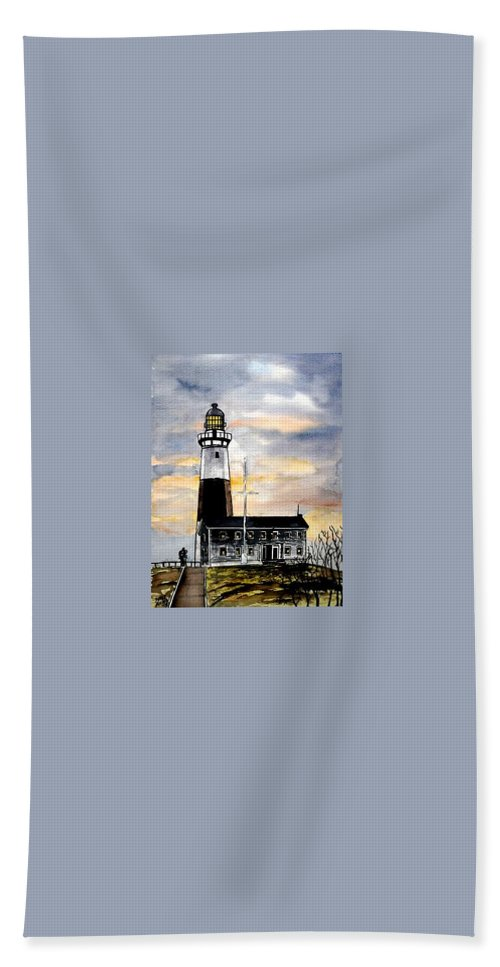 Montauk Point Beach Towel featuring the painting Montauk Point Lighthouse by Derek Mccrea