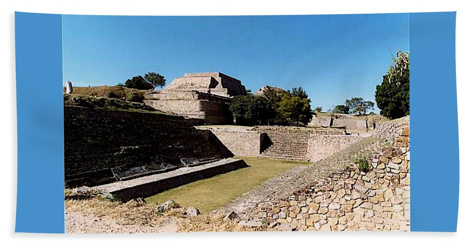 Monte Alban Beach Towel featuring the photograph Monte Alban Ball Court by Michael Peychich