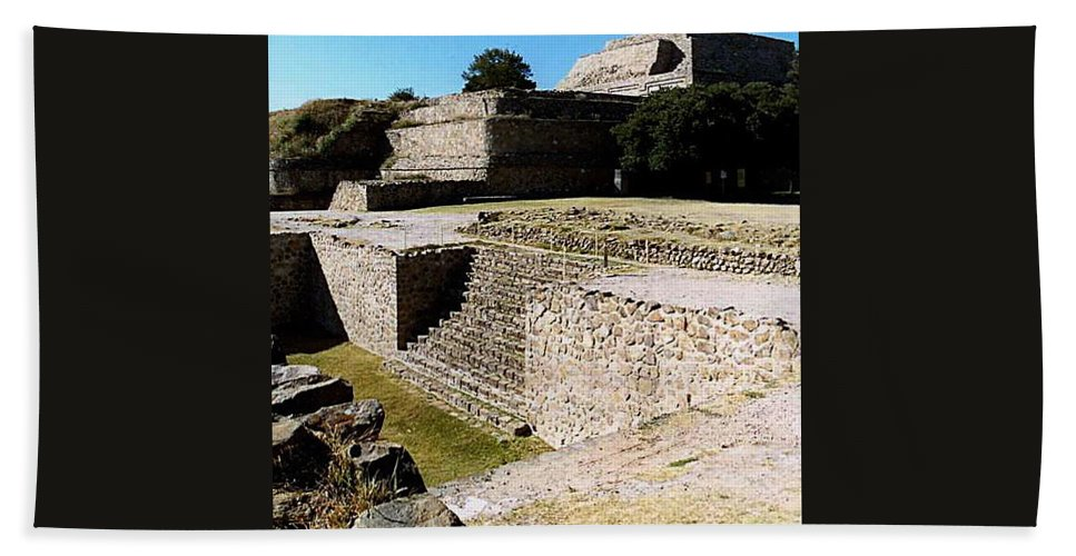 Monte Alban Beach Towel featuring the photograph Monte Alban North Platform by Michael Peychich