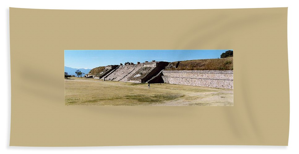 Monte Alban Beach Towel featuring the photograph Monte Alban Panorama by Michael Peychich