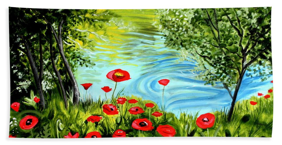 Landscape Beach Towel featuring the painting Monte Rio Poppies by Elizabeth Robinette Tyndall