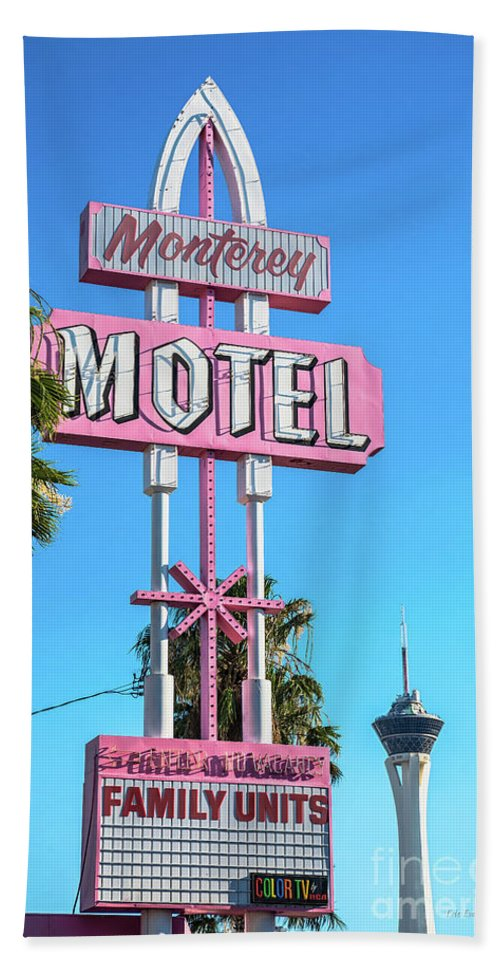 Monterey Motel Beach Towel featuring the photograph Monterey Motel Sign And The Stratosphere by Aloha Art
