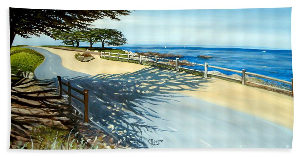 Landscape Beach Towel featuring the painting Monterey Shadows by Elizabeth Robinette Tyndall