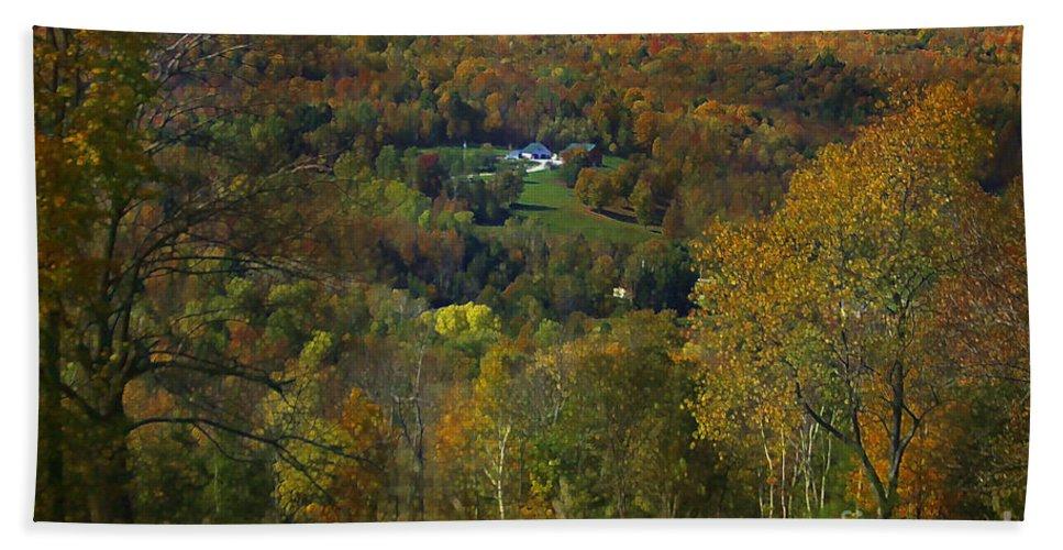 Autumn Beach Towel featuring the photograph Montgomery Hillside Of Color by Deborah Benoit
