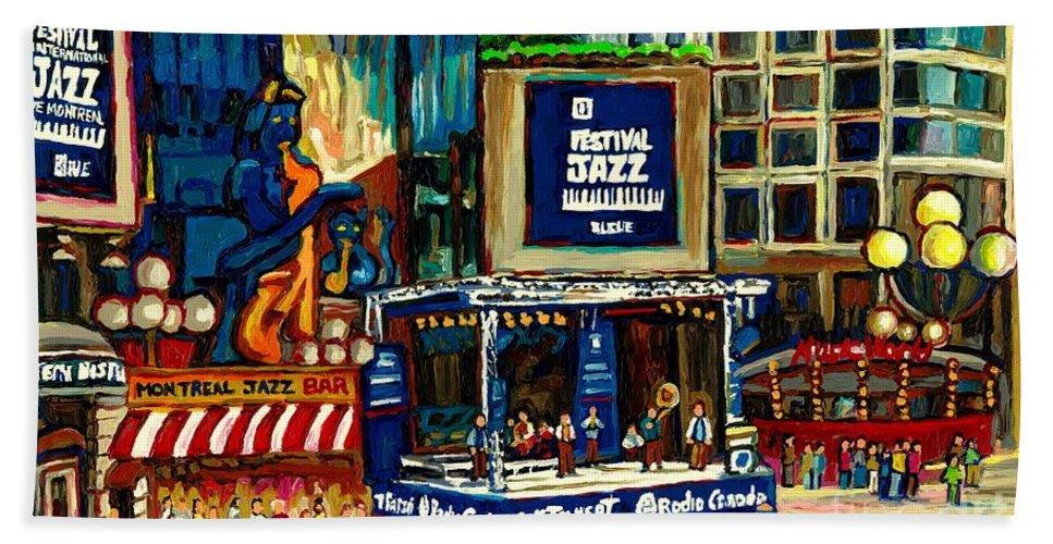 Montreal International Jazz Festival Beach Towel featuring the painting Montreal International Jazz Festival by Carole Spandau