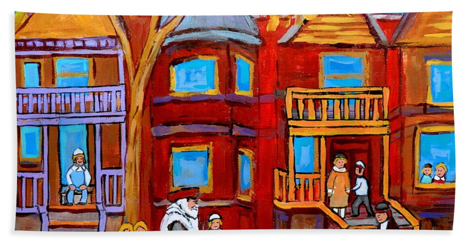 Outremont Beach Towel featuring the painting Montreal Memories Of Zaida And The Family by Carole Spandau