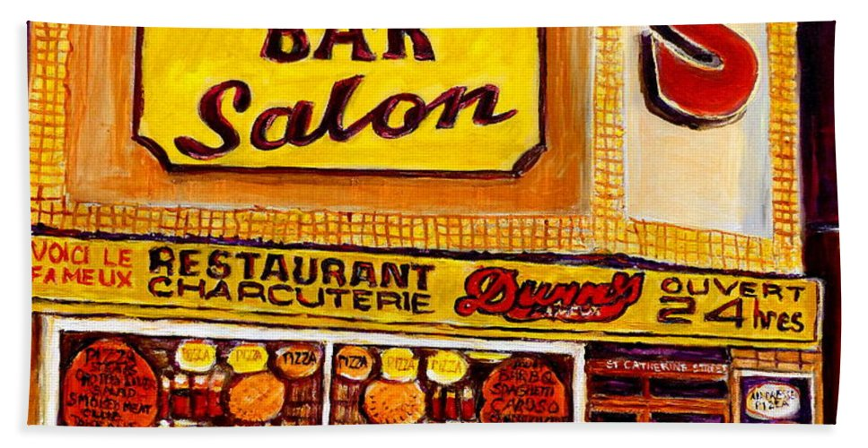 Dunns Beach Towel featuring the painting Montreal Smoked Meat Dunns Restaurant by Carole Spandau
