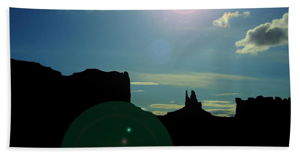 Monument Valley Beach Towel featuring the photograph Monument Valley silhouette by Roy Nierdieck