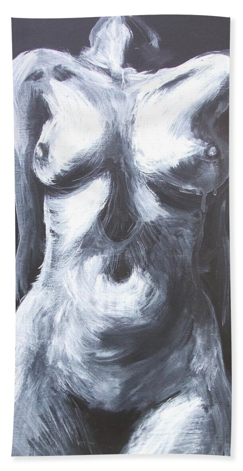 Monumental Body Beach Towel featuring the painting Monumental Body by Carmen Tyrrell